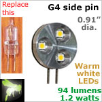 12 volt LED Bulbs (10-30 vdc), G4 side pins, WARM white, 94 lumens