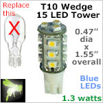 12 volt LED Bulbs (10-30vdc), T10 wedge tower, BLUE