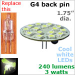 12 volt LED Bulbs (10-30 vdc), G4 back pins, COOL white, 240 lumens