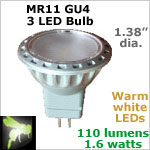 12 volt LED Bulbs (10-30vdc), MR11 GU4, WARM white, 1.6 watts, 110 lumens