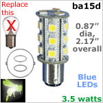 12 volt LED Bulbs (10-30vdc), ba15d Double Bayonet base, Blue