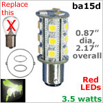 12 volt LED Bulbs (10-30vdc), ba15d Double Bayonet base, Red