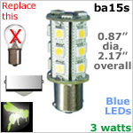 12 volt LED Bulbs (10-30vdc), ba15s Single Bayonet base, BLUE