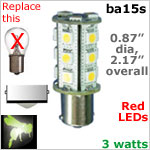 12 volt LED Bulbs (10-30vdc), ba15s Single Bayonet base, RED