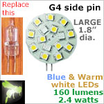 12 volt LED Bulbs (10-30vdc), G4 side pins, Bicolor (switchable), 3 BLUE LEDs, 12 WARM white LEDs 160 lumens