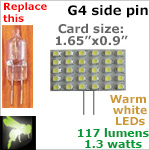 12 volt LED Card / Bulb (10-30 vdc), G4 side pins, WARM white, 117 lumens