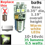 12 volt LED Bulbs (10-16v dc), ba9s miniature Single Bayonet base, WARM white, 35 lumens