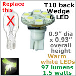 12 volt LED Bulbs (10-30vdc), T10 wedge back entry, WARM white, 97 lumens