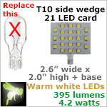 12 volt LED Bulbs (10-30vdc), T10 wedge rectangle 921, WARM white, 395 lumens