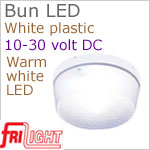 12 volt LED Courtesy Lights (10-30vdc) - Bun 8875, surface mount, White plastic with WARM White LED Bulb