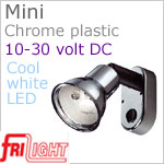 12 volt LED Reading Lights (10-30vdc) - Mini 8658 with Switch, CHROME colored plastic with 165 lumens COOL White LED Bulb