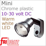 12 volt LED Reading Lights (10-30vdc) - Mini 8658 with Switch, CHROME colored plastic with 140 lumens WARM White LED Bulb