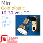 12 volt LED Reading Lights (10-30vdc) - Mini 8658 with Switch, GOLD colored plastic with 165 lumens COOL White LED Bulb