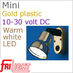 12 volt LED Reading Lights (10-30vdc) - Mini 8658 with Switch, GOLD colored plastic with 140 lumens WARM White LED Bulb