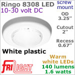 12 volt LED Lights (10-30vdc) - Ringo 8308, Recess mount, WHITE Bezel with 140 lumens WARM White LED Bulb