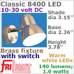 12 volt LED Reading Lights (10-30vdc) - Classic 8400, BRASS with Switch, with 140 lumens WARM White LED Bulb