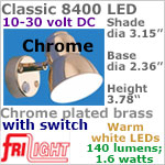 12 volt LED Reading Lights (10-30vdc) - Classic 8400, CHROME Metal with Switch, with 140 lumens WARM White LED Bulb