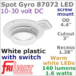 12 volt LED Lights (10-30vdc) - Spot Gyro 87072, Recess mount, adjustable ceiling light, WHITE plastic with rocker switch, 140 lumens WARM White LED Bulb