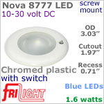 12 volt LED Lights (10-30vdc) - Nova 8777, Recess mount ceiling light with Switch, CHROME colored plastic with BLUE LED Bulb