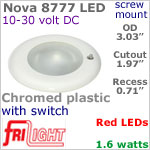 12 volt LED Lights (10-30vdc) - Nova 8777, Recess mount ceiling light with Switch, CHROME colored plastic with RED LED Bulb