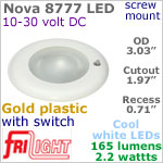 12 volt LED Lights (10-30vdc) - Nova 8777, Recess mount ceiling light with Switch, GOLD colored plastic with 165 lumens COOL White LED Bulb