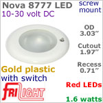 12 volt LED Lights (10-30vdc) - Nova 8777, Recess mount ceiling light with Switch, GOLD colored plastic with RED LED Bulb