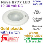 12 volt LED Lights (10-30vdc) - Nova 8777, Recess mount ceiling light with Switch, GOLD colored plastic with 140 lumens WARM White LED Bulb
