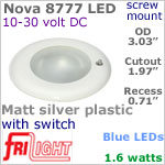 12 volt LED Lights (10-30vdc) - Nova 8777, Recess mount ceiling light with Switch, MATT SILVER Bezel with BLUE LED Bulb