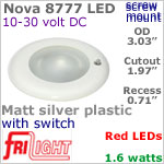 12 volt LED Lights (10-30vdc) - Nova 8777, Recess mount ceiling light with Switch, MATT SILVER Bezel with RED LED Bulb