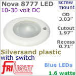 12 volt LED Lights (10-30vdc) - Nova 8777, Recess mount ceiling light with Switch, SILVERSAND Bezel with BLUE LED Bulb