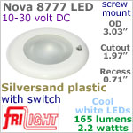 12 volt LED Lights (10-30vdc) - Nova 8777, Recess mount ceiling light with Switch, SILVERSAND Bezel with 165 lumens COOL White LED Bulb
