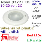 12 volt LED Lights (10-30vdc) - Nova 8777, Recess mount ceiling light with Switch, SILVERSAND Bezel with RED LED Bulb