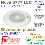 12 volt LED Lights (10-30vdc) - Nova 8777, Recess mount ceiling light with Switch, SILVERSAND Bezel with 140 lumens WARM White LED Bulb