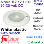 12 volt LED Lights (10-30vdc) - Nova 8777, Recess mount ceiling light with Switch, WHITE Bezel with BLUE LED Bulb