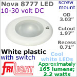 12 volt LED Lights (10-30vdc) - Nova 8777, Recess mount ceiling light with Switch, WHITE Bezel with 165 lumens COOL White LED Bulb