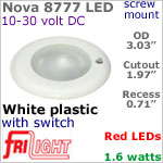 12 volt LED Lights (10-30vdc) - Nova 8777, Recess mount ceiling light with Switch, WHITE Bezel with RED LED Bulb
