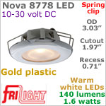 12 volt LED Lights (10-30vdc) - Nova 8778 with Spring Mount Clips, Recess mount, GOLD colored plastic with 140 lumens WARM White LED Bulb