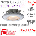 12 volt LED Lights (10-30vdc) - Nova 8778 with Spring Mount Clips, Recess mount, MATT SILVER Bezel with RED LED Bulb