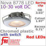 12 volt LED Lights (10-30vdc) - Nova 8778 with Spring Mount Clips, recess mount, with Switch, CHROME colored plastic with RED LED Bulb