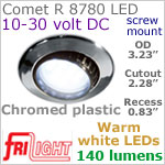 12 volt LED Lights (10-30vdc) - Comet R 8780, Recess mount adjustable ceiling light, CHROME colored plastic with 140 lumens WARM White LED Bulb
