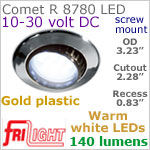 12 volt LED Lights (10-30vdc) - Comet R 8780, Recess mount adjustable ceiling light, GOLD colored plastic with 140 lumens WARM White LED Bulb