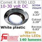 12 volt LED Lights (10-30vdc) - Comet R 8780, Recess mount adjustable ceiling light, WHITE plastic with 140 lumens WARM White LED Bulb