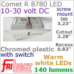 12 volt LED Lights (10-30vdc) - Comet R 8780, Recess mount adjustable ceiling light, with Switch, CHROME colored plastic with 140 lumens WARM White LED Bulb
