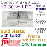 12 volt LED Lights (10-30vdc) - Comet R 8780, Recess mount adjustable ceiling light, with Switch, GOLD colored plastic with 140 lumens WARM White LED Bulb