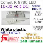 12 volt LED Lights (10-30vdc) - Comet R 8780, Recess mount adjustable ceiling light, with Switch, WHITE plastic with 140 lumens WARM White LED Bulb