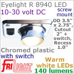 12 volt LED Lights (10-30vdc) - Eyelight 8940, Recess mount adjustable ceiling light, with Switch, CHROME colored plastic with 140 lumens WARM White LED Bulb