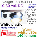 12 volt LED Lights (10-30vdc) - Eyelight 8940, Recess mount adjustable ceiling light, with Switch, WHITE plastic with 140 lumens WARM White LED Bulb