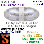 12 volt LED Ceiling Lights (10-30vdc) - RViL34 RV Pancake Interior Double LED Light with rocker Switch, with 394 lumens (2x197) WARM White LED Bulbs