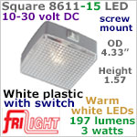 12 volt LED Utility Lights (10-30vdc) - Square 8611-15, with rocker Switch, with 197 lumens WARM White LED Bulb