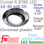 12 volt LED Lights (10-30vdc) - Comet R 8780, Recess mount adjustable ceiling light, CHROME colored plastic with 165 lumens COOL White LED Bulb